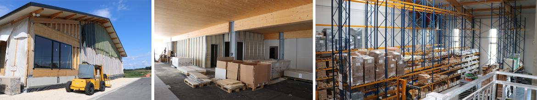 Bau des neuen Bürogebäudes und Versandhalle