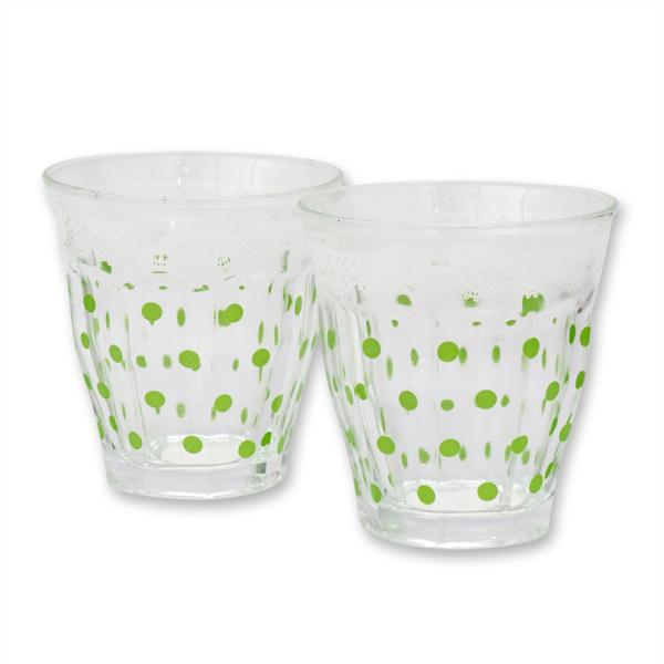 Teelichtglas mit grüne Punkte