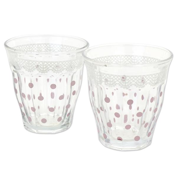 Teelichtglas mit lila Punkte