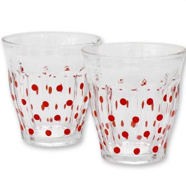 Teelichtglas mit rote Punkte
