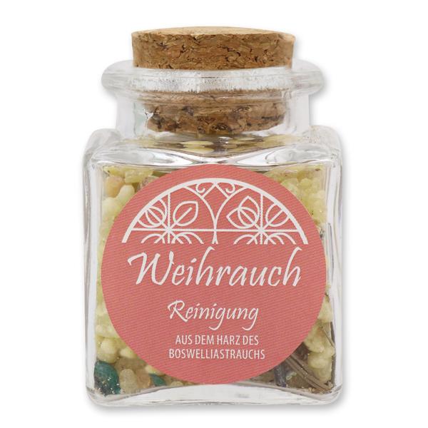"Incense mix ""Reinigung"", 28g in a square glass jar with a plug cork"