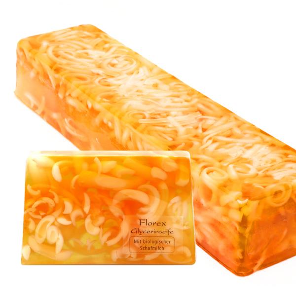 Handgemachte Glyzerin-Seife Strang ca. 1,80kg, Mandarine