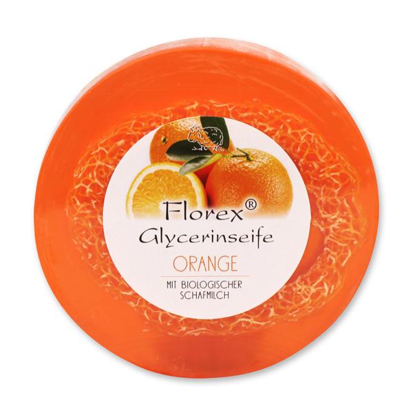 Handgemachte Glyzerin-Seife mit Luffa 100g  in Folie mit Aufkleber, Orange