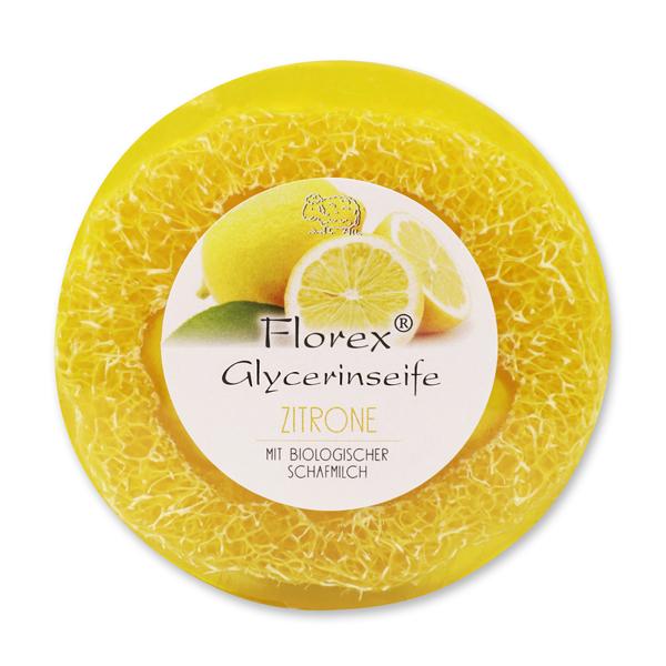 Handgemachte Glyzerin-Seife mit Luffa 100g in Folie mit Aufkleber, Zitrone