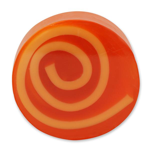 Handgemachte Glyzerin-Seife mit Spirale 90g in Folie, Orange