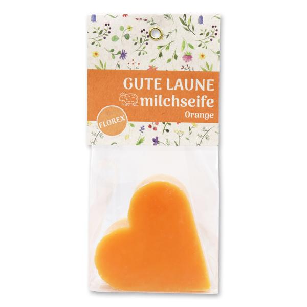 """Schafmilchseife Herz 85g in Cello """"Gute Laune"""", Orange"""