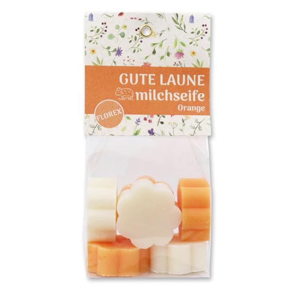 """Schafmilchseife Blume mini 6x20g in Cello """"Gute Laune"""", Classic/Orange"""