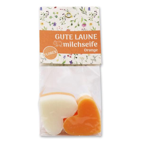 """Schafmilchseife Herz mittel 4x23g in Cello """"Gute Laune"""", Classic/Orange"""