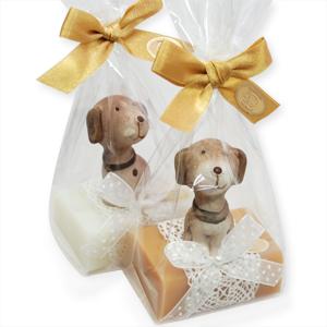 Schafmilchseife eckig 100g, dekoriert mit Hund in Cello,  Classic/Quitte