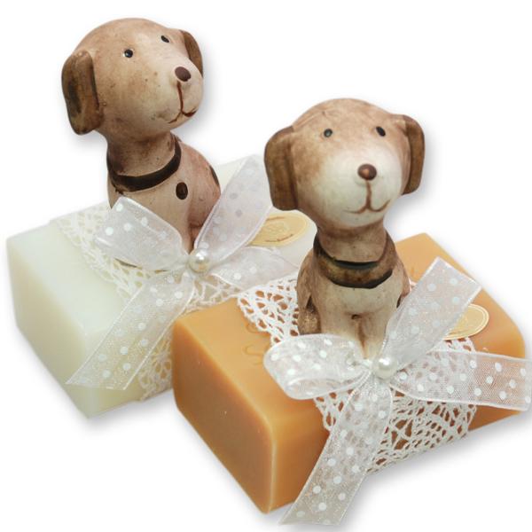 Schafmilchseife eckig 100g, dekoriert mit Hund,  Classic/Quitte
