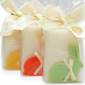 Sheep milk soap 100g, decorated with a felt rabbit in a cellophane, Classic