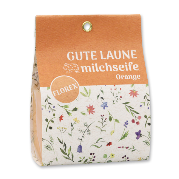 """Schafmilchseife eckig 100g in Tasche """"Gute Laune"""", Orange"""
