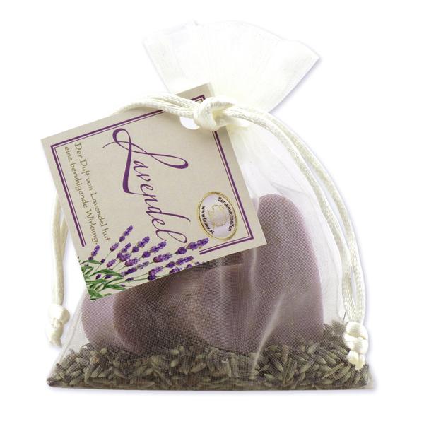 Sheep milk soap heart 2x23g, with lavender petals in organza, Lavender