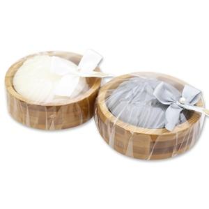 Schafmilchseife rund 100g auf Holz-Seifenschale, dekoriert mit Masche in Cello, Edelweiß weiß/silber