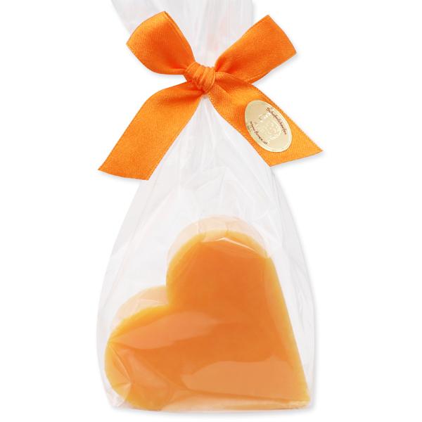 Sheep milk soap heart 85g, in a cellophane, Orange