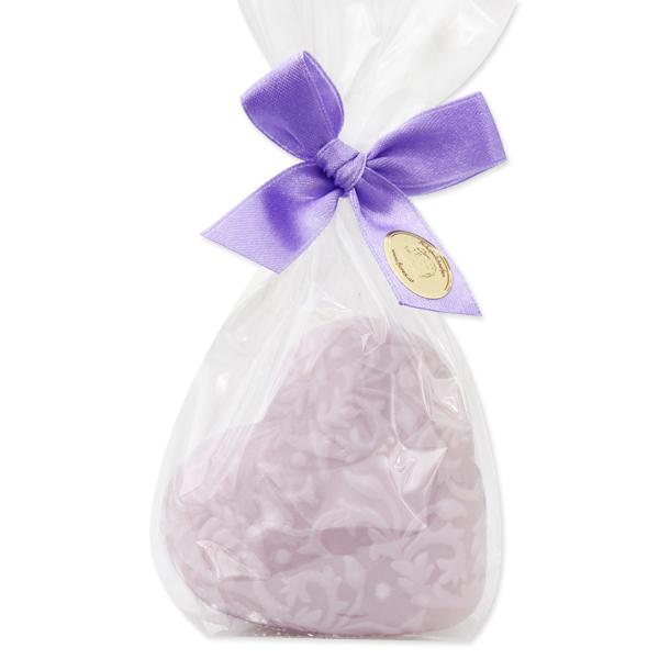 """Sheep milk soap heart """"Florex"""" 80g, in a cellophane, Lilac"""