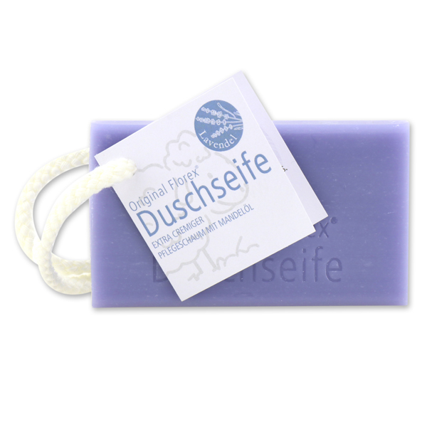 Shower soap with sheep milk 120g, hanging with a cord, Lavender