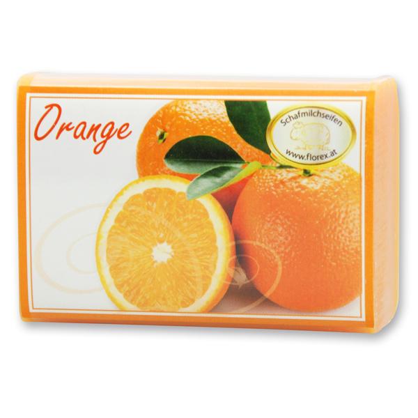 Schafmilchseife eckig 100g modern, Orange