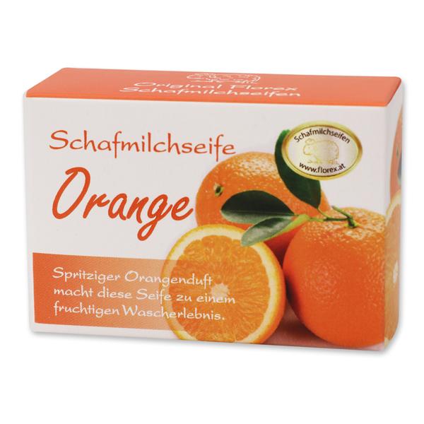 Schafmilchseife eckig 100g Schachtel, Orange