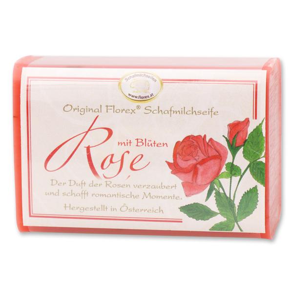Schafmilchseife eckig 100g klassisch, Rose mit Blüten