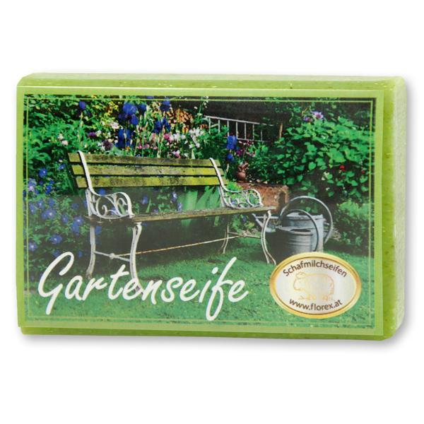Schafmilchseife eckig 100g modern, Gartenseife