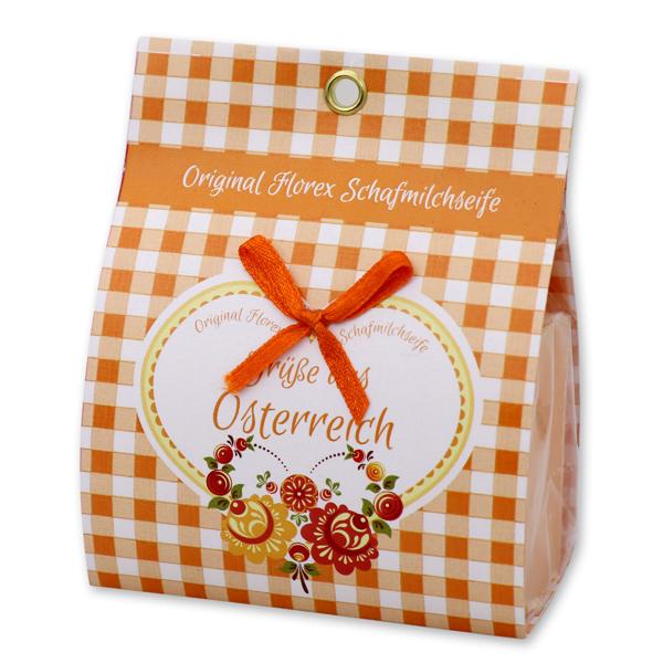 """Schafmilchseife eckig 100g in Papier-Tasche """"Grüße aus Österreich"""", Orange"""