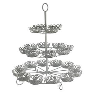 Cup Cake-Halter/Metall, 42x39 cm  weiß, für 24 Cups