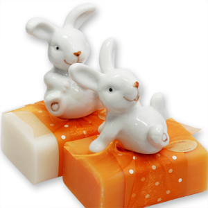 Sheep milk soap 100g, decorated with a rabbit, Classic/orange
