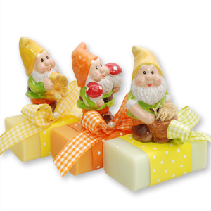 Sheep milk soap 100g, decorated with a garden dwarf, sorted
