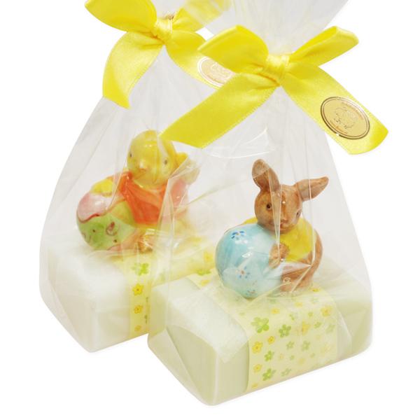 Schafmilchseife eckig 100g, dekoriert mit Küken/Hase in Cello, Classic/Wiesenblume