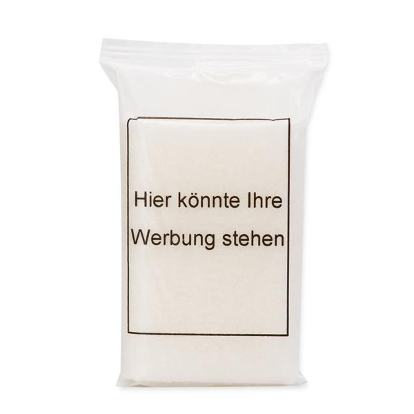 Schafmilchseife eckig 100g in einer Flowpack Verpackung in Pergamentpapier, Individuelles Logo