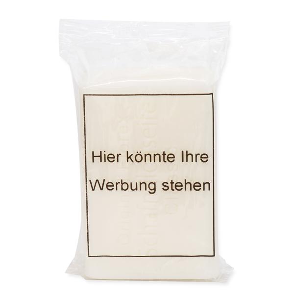 Schafmilchseife Seifenstück 35g in einer Flowpack Verpackung im transparenten Kunststoff, Individuelles Logo