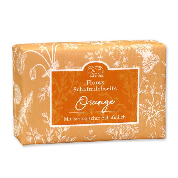 """Schafmilchseife eckig liegend 150g """"Florentine"""" im gerillten Papier, Orange"""