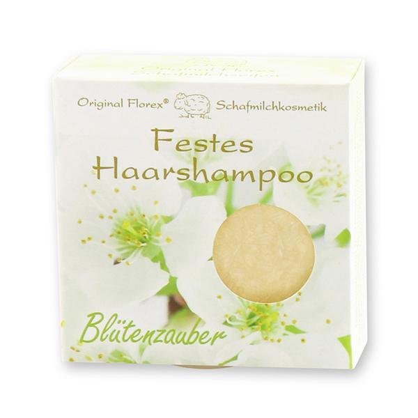 Festes Haarshampoo mit Schafmilch 58g in Papier-Schachtel, Blütenzauber