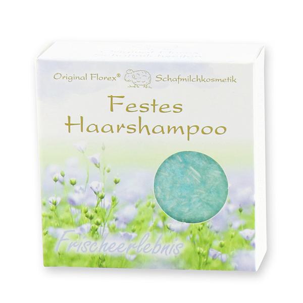 Festes Haarshampoo mit Schafmilch 58g in Papier-Schachtel, Frischeerlebnis