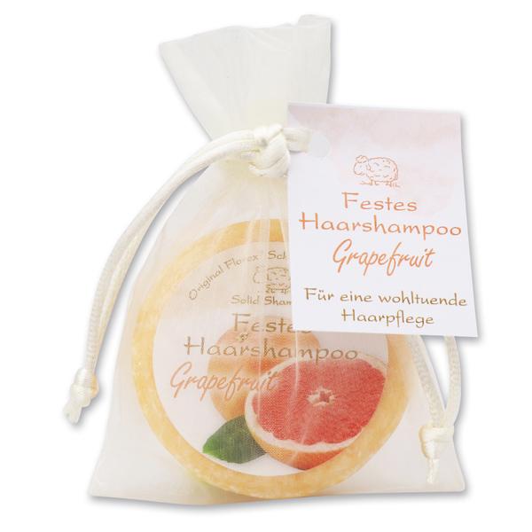 Festes Haarshampoo mit Schafmilch 58g im Organzasackerl, Grapefruit