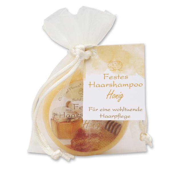 Festes Haarshampoo mit Schafmilch 58g im Organzasackerl, Honig