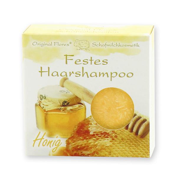 Festes Haarshampoo mit Schafmilch 58g in Papier-Schachtel, Honig