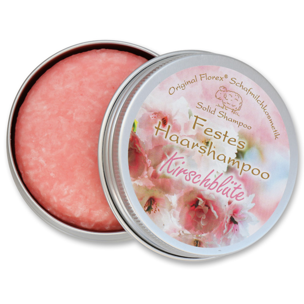 Solid hair shampoo with sheep milk 58g in a container, Cherry Blossom