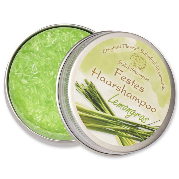 Festes Haarshampoo mit Schafmilch 58g in Dose, Lemongras