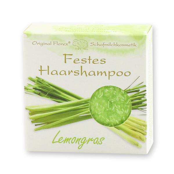 Festes Haarshampoo mit Schafmilch 58g in Papier-Schachtel, Lemongras