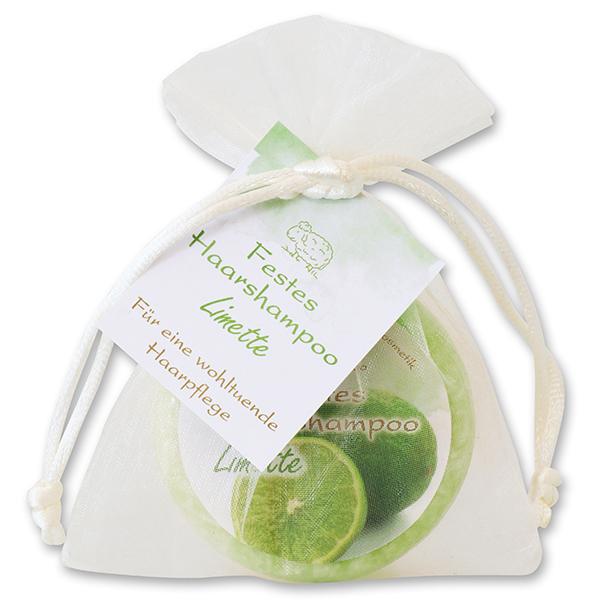 Festes Haarshampoo mit Schafmilch 58g im Organzasackerl, Limette