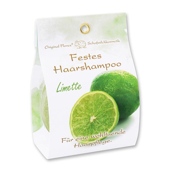 Festes Haarshampoo mit Schafmilch 58g in Papier-Tasche, Limette