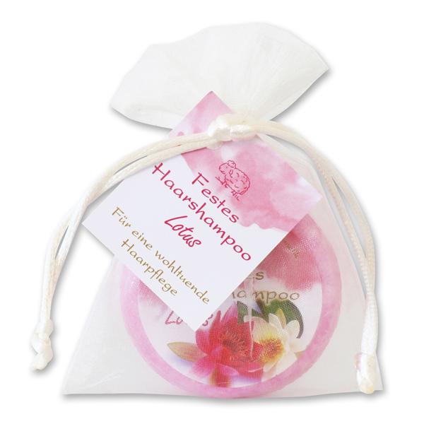 Festes Haarshampoo mit Schafmilch 58g im Organzasackerl, Lotus
