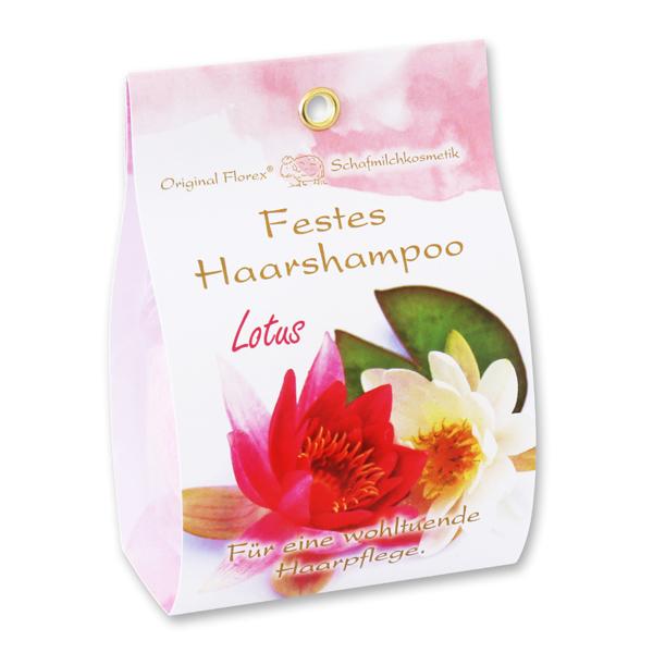 Festes Haarshampoo mit Schafmilch 58g in Papier-Tasche, Lotus