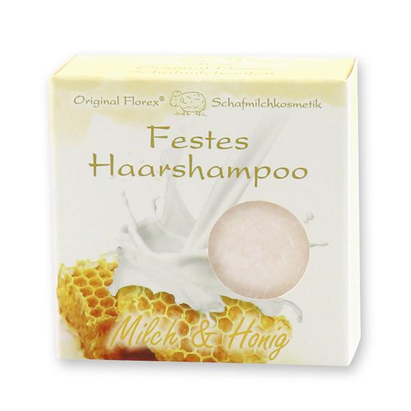 Festes Haarshampoo mit Schafmilch 58g in Papier-Schachtel, Milch & Honig