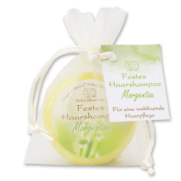 Festes Haarshampoo mit Schafmilch 58g im Organzasackerl, Morgentau