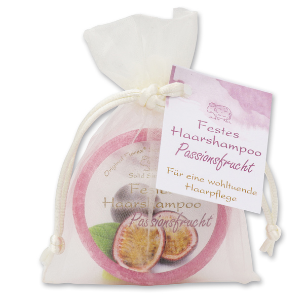 Festes Haarshampoo mit Schafmilch 58g im Organzasackerl, Passionsfrucht