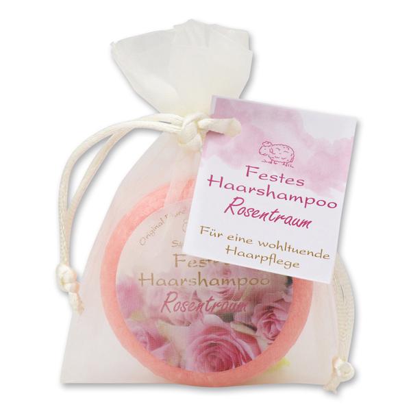 Festes Haarshampoo mit Schafmilch 58g im Organzasackerl, Rosentraum