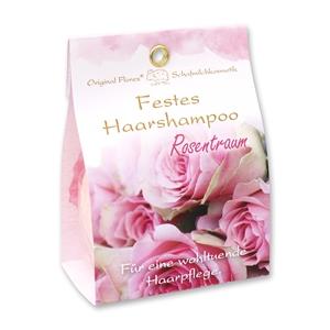 Festes Haarshampoo mit Schafmilch 58g in Papier-Tasche, Rosentraum